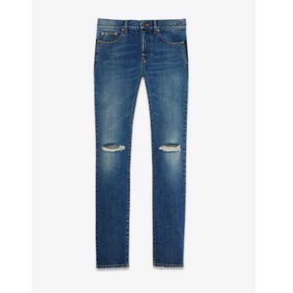ORIGINAL LOW WAISTED RIPPED SKINNY JEAN IN VINTAGE BLUE DEN