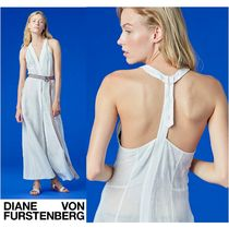 セール!DVF★Sleeveless Deep-V Button-Up Dress?リネンドレス