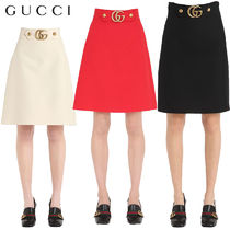 【正規品保証】GUCCI★18春夏★GG BUCKLE HIGH WAISTED SKIRT