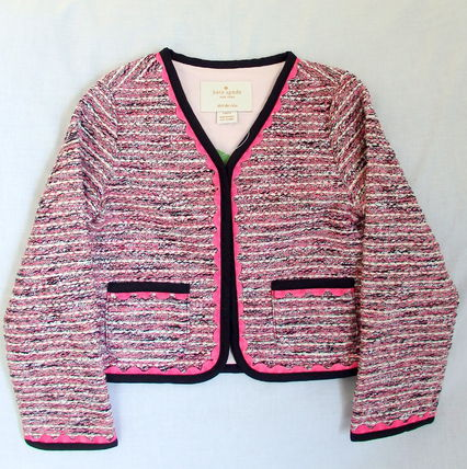 kate spade new york キッズアウター 【1-2日到着】kate spade●toddler's knit tweed jacket●ピンク