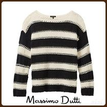 MassimoDutti♪COTTON SWEATER WITH A STRIPED TEXTURED WEAVE