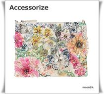 Accessorize 新作 花柄 装飾 2way ジップトップ クラッチバッグ