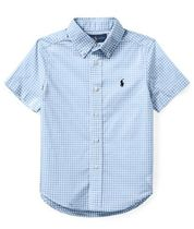 新作♪国内発送 4色Gingham Stretch Cotton Shirt boys 2~7
