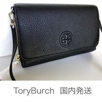 即発送【Tory Burch 】Bombe Flat Wallet Crossbody BK