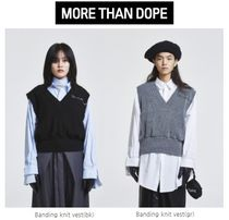 more than dope(モアザンドープ) ベスト・ジレ 【more than dope】Banding knit vest(bk/gr)ユニセックス
