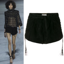 18SS WSL1256 LOOK10 LAMB LEATHER SHORTS WITH LACE DETAIL