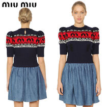 【正規品保証】MIUMIU★18春夏★INTARSIA CROPPED WOOL SWEATER