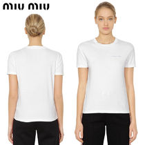 【正規品保証】MIUMIU★18春夏★LOGO COTTON JERSEY T-SHIRT