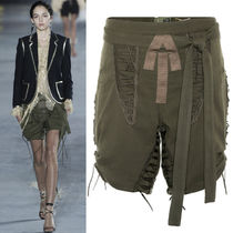 18SS WSL1257 LOOK1 MILITARY SHORTS WITH LACE UP DETAIL