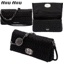 【正規品保証】MIUMIU★18春夏★CRYSTAL&QUILTED LEATHER CLUTCH