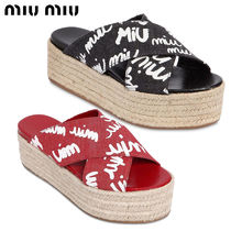 【正規品保証】MIUMIU★18春夏★DENIM CRISSCROSS WEDGE SANDALS