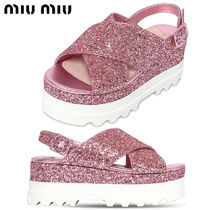 【正規品保証】MIUMIU★18春夏★CRISSCROSS GLITTERED WEDGES