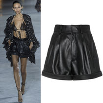 18SS WSL1262 LOOK4 HIGH WAISTED LEATHER SHORTS