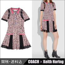 COACH★COACH×KEITH HARING プリーテッド シルクドレス ピーチ