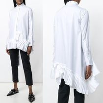 18SS AM322 ASYMMETRIC COTTON BLOUSE WITH PLEATED PANEL