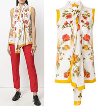 18SS AM325 FLORAL PRINT SILK SLEEVELESS BLOUSE WITH SCALF