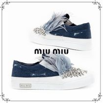 国内発送・関税込MIU MIU   SWAROWSKY AND FEATHERS  SLIP-ON