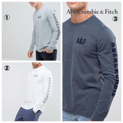 Abercrombie & Fitch Tシャツ・カットソー 【間・送込み】アバクロ アームロゴ A&F ロングTシャツ選べる3色