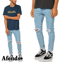 AFENDS(アフェンズ) デニム・ジーパン 【AFENDS】Beat Junkyダメージ加工スキニージーンズ/STONE BLUE