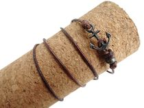 wakami・PP-B028・SILVER:Leather Anchor Bracelet アンカー