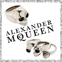 【送関込】Alexander McQueen☆DIVIDED SKULL BRASS RING 3連