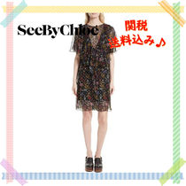 【see by chloe】Floral シルク ドレス ワンピ 透け感 関送込♪