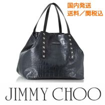 【Jimmy Choo】PIMLICO クロコ型  NAVYトートバック送料/関税込