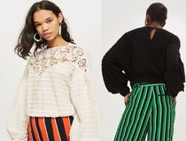 Topshop 清楚 クロシェット レース入り 長袖 トップ 2色