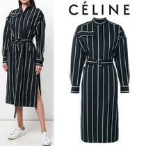 【18SS】大注目!!★CELINE★striped belt shirt dress