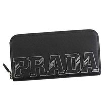 PRADA 長財布 ZIP AROUND CON SCRITTA PRADA MULTI ブラック