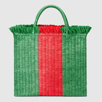 18SS◆GUCCI マザーズバッグ Straw large top handle かごバッグ