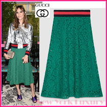 GUCCI★グッチ★素敵!GREEN CLUNY LACE WEB DETAIL SKIRT