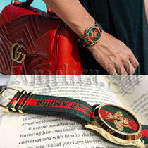 ★新作★GUCCI Green & Red Striped Nylon Strap Watch YA126487