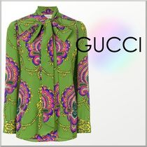18SS★GUCCI 70年代風 グラフィック プリント シルク ブラウス