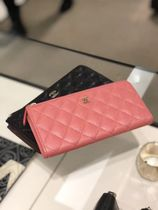 2018CHANEL★TIMELESS L-gusset Zip wallet in Pink or Blk