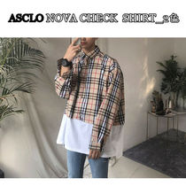 ASCLO★韓国の人気★NOVA CHECK  OVERFIT SHIRT_2色