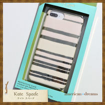 即発送★【kate spade】ボーダー柄 iPhone7Plus 6/6SPlus 8Plus
