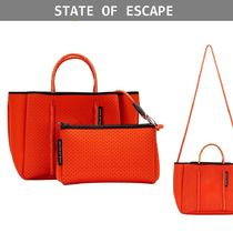 【State of Escape】ポーチ付き*明るめカラー★トートバッグ