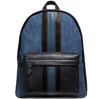 ☆COACH☆CHARLES BACKPACK WITH VARSITY STRIPE デニムxレザー