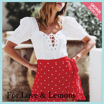 【For Love & Lemons】レースアップ パフ ブラウス Anabelle