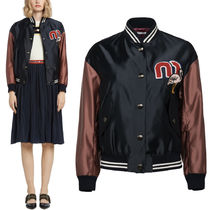 MM478 SATIN BOMBER JACKET WITH APPLIQUE