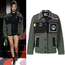 MM482 LOOK40 EMBELLISHED STRETCH DRILL JACKET