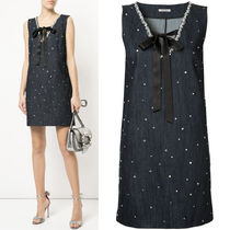 MM490 CRYSTAL EMBELLISHED DENIM DRESS
