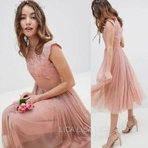 国内発送ASOS DESIGN Bridesmaid Embroidered Mesh Midi Dress