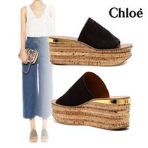 Chloe☆Camille Wedge Mule Suede&Leather コルクヒール 75mm
