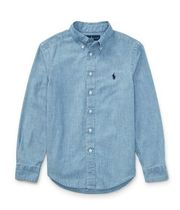 新作!大人もOK♪ Indigo Cotton Chambray Shirt boys 8~20