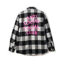 ANTI SOCIAL SOCIAL CLUB FLANNEL GREY W/ PINK チェック ピンク