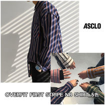 ASCLO★韓国の人気★OVERFIT FIRST STRIPE NB SHIRT_5色