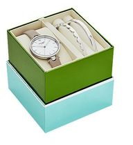 kate spade*silver & grey leater holland watch set