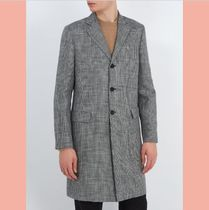 数量限定18SS  Mavin Prince of Wales-checked linen-blend coat